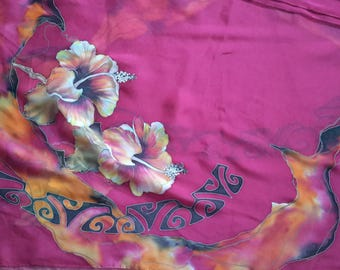 Polynesian hibiscus chiffon stole