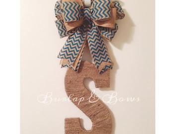 Burlap wreath, twine initial, twine initial door hanger, initial wreath, door hanger, can do any initial