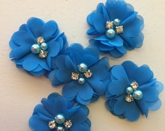 "2.5"" Ocean Blue Chiffon Flower with Pearl and Rhinestone Center set of 5"