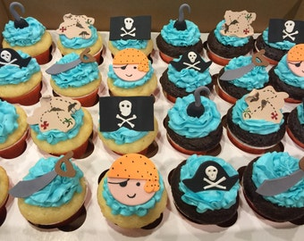 Set of 12 Pirate Themed Fondant Cupcake/Cupcake Toppers