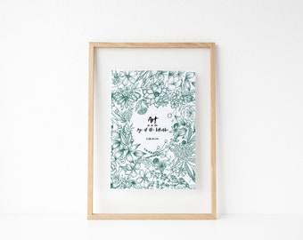 Art is in the Eye of the Beholder Quote | Wall Decor | Botanical Line Drawing | Floral Illustration