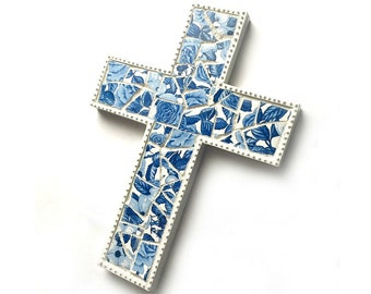 Mosaic Cross, Blue White Mosaic Wall Cross, Blue White Floral Mosaic Cross, Mosaic Cross Wall Hanging, Handmade Cross Art, Nursery Cross