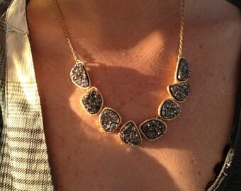 Gunmetal Druzy Statement Collar Necklace