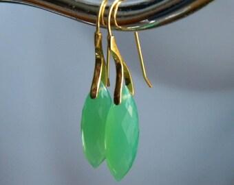 Green Earrings, Chrysoprase Earrings, Puffy Teardrops, Gift for Her, Green Chrysoprase Earrings, Gold Vermeil Ear Wires, KarenWolfeCreations