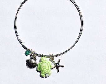 Turtle Charm Bracelet - Charm Bracelet - Turtle Bracelet - Beach Charm Bracelet - Ocean Charm Bracelet
