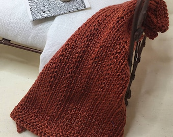 Shabby Chic Handmade Miniature Dollhouse Small Bed Throws - Hand Knitted  - Rust