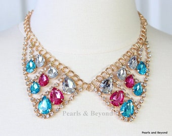 Colorful Rhinestone Collar Necklace Multi Color Statement Necklace