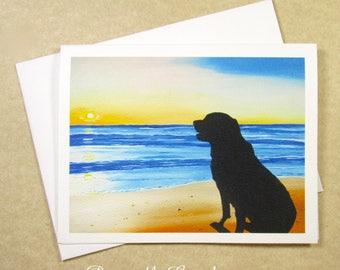 Black Lab Note Cards, Labrador Retriever Note Cards, Blank Note Cards, Sunset Note Cards, Beach Note Cards, Dog Lover Note Cards