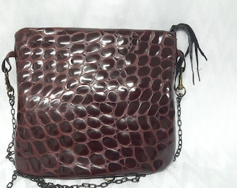 Leather patent leather red-gifts-unique small bag, Krokoprintleder