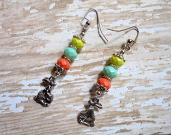 Yellow, Mint and Coral Easter Bunny Earrings (2495)