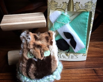 Owl Stuffed Animal with nest, perch and mint green accessories - Button Eyes - Dress up Toy - Owl Gifts