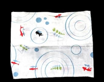 Japanese Tenugui Cotton Gauze Fabric  - Traditional Japanese - Goldfish - 34 x 95 cm White T67