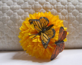 Pineapple Pom Pom Hair Flower // Yellow Chrysanthemum Hair Clip // Perfect Natural Hair Care Accessories // Luxury Hair Care Product