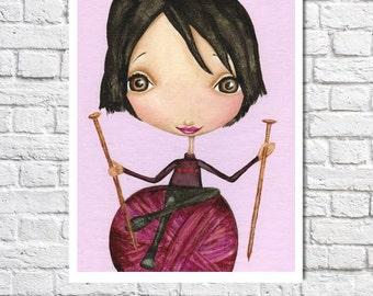 Knitting Art Gifts For Knitter Knitting Gift Craft Room Decor Ideas Cute Big Eyed Illustration Wall Art Knitting Girl Limited Edition Print