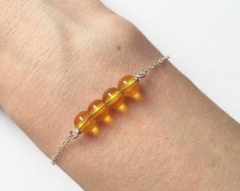 LEMON QUARTZ BRACELET - Sterling Silver Yellow Gemstone Chain Bracelet - Handmade Semiprecious Stackable Bracelet