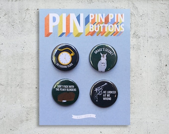 Peaky Blinders Button Set / TV Show Buttons / Pinback Buttons / Gift Set