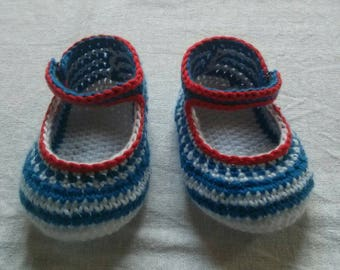 MOSS collection Lil baby ballerinas nautical cotton size 6 months in blue and white