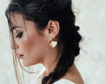 ethnic gold earrings,Statement gold earrings,Ginkgo Leaf Earrings,bohemian earrings,textured earrings,tribal gold earrings,nugget earrings