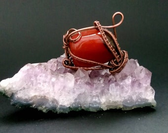 Carnelian pendant Wire wrapped carnelian pendant Gemstone pendant Copper wire carnelian pendant Crystallotherapy Crystal pendant Unique