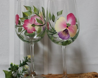 Hand Painted Wine Glasses - Pansies Multicolored (Set of 2)