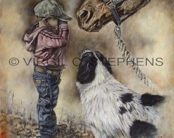 Cowboy art, Time For A Nap, print from the original oil painting of a young cowboy crying while his horse and ranch dog look on