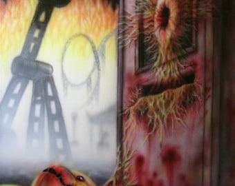 Horror Art, Hell's Carnival: Ticket Booth Terror, original airbrushing!