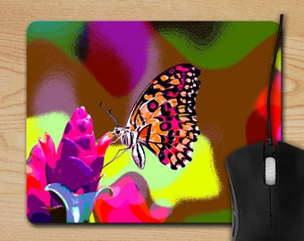 Bright Butterfly Mouse Pad - Altered Art Mousepad - Butterfly Photo Mouse Pad