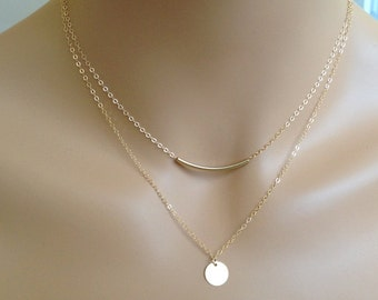 Sale! Gold Filled Layered Necklace-Sterling Silver Layered Necklace-Circle Disc Necklace-Curved Bar-Silver Disc Necklace-Layering necklace
