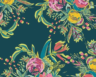Art Gallery Fabric - Coquet Bouquet from Joie De Vivre by Bari J for Art Gallery JOI 89130 Teal, half yard price