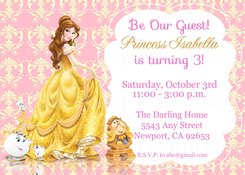 Princess Belle Beauty & the Beast Invitation Kid\'s