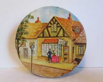 Vintage  Round Elmcrest Candies Candy Tin Metal Mid Century Covered Village Tin Box Container