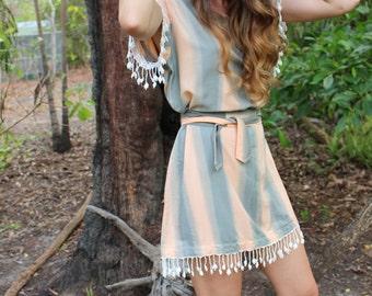 Boho tie dye fringe dress