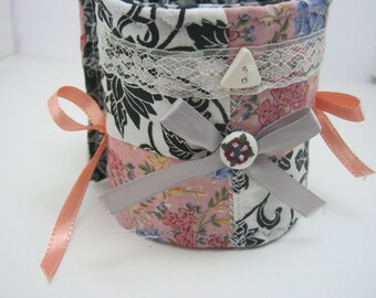 Bows and Lace Patchwork Fabric Bracelet Cuff