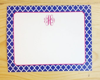 Personalized Custom Monogram Stationery Flat Double-Sided Notecards - Quatrefoil pattern Stationary - Set of 25