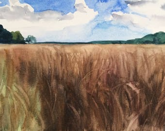 English countryside, Wheatfield painting, landscape painting, landscape watercolor, English landscape, Kent uk, watercolor landscape, wheat