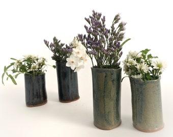 Ceramic Bud Vase Set of 2 Pottery Flower Vases or Fresh Herb Holder, Blue Home Decor