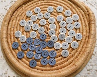 Vintage BLUE & GRAY BUTTONS Bulk Mixed Lot Flat Singles White Outlines, Sewing Shirt Blouse Supply Kids Projects 76 pcs Destash Notions 2