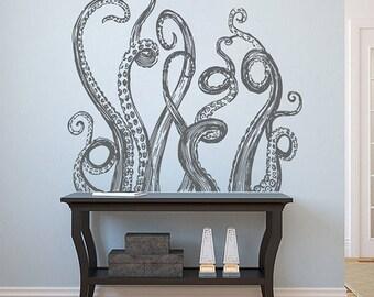 Octopus Wall Decal Tentacles Kraken Decal Sea Animals Octopus Tentacles Vinyl Wall Decals Nautical Decals Bedroom Bathroom Decor kik1225