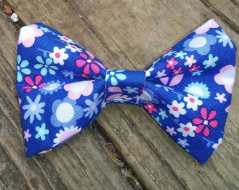 3.5 inch Blue Floral Fabric Hairbow