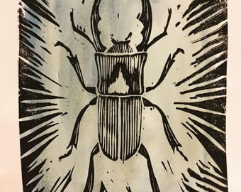 Beetle linoprint