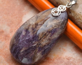 "Natural Charoite Sterling Silver 1-7/8"" pendant  (#J677)"