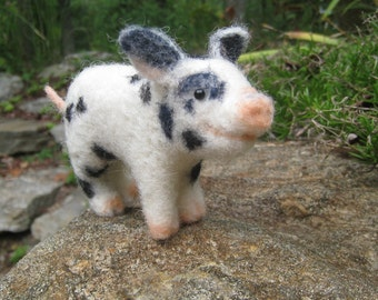 Teacup pig, needle felted animal fiber art sculpture