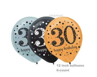 30th birthday balloons, silver, gold, black, thirty, 30 party supplies, thirtieth, adult birthday party decorations, latex balloons
