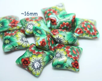 Polymer clay  Pillow beads /  Sold by pair / Green and Orange flowers
