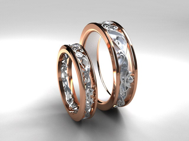 Wedding band set rose gold white gold diamond wedding band