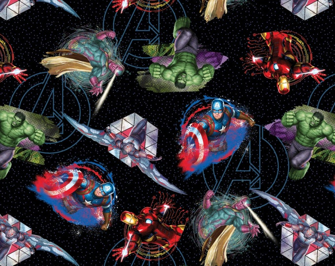Featured listing image: Marvel Avengers Fabric , Iron Man, Hulk, Capt Avenger - Springs Creative SPR62839 A620715  - Priced by the 1/2 yard