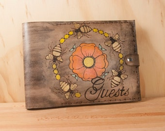Bee Line Guest Book - Handmade leather wedding guest book - Bees and flowers in orange, yellow, gold and antique black