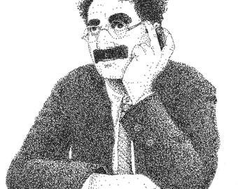 "Groucho Marx ""Duck Soup"" Pointillism Portrait"