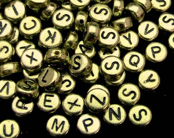 100 Gold Alphabet Beads - 7mm Round Letter Beads