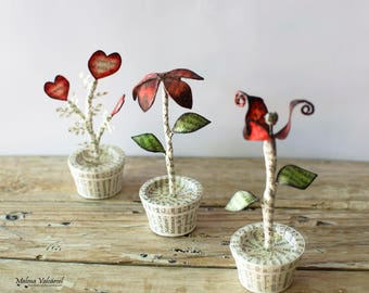 Miniature Paper Flowers in a tiny Pot - Miniature Paper Art